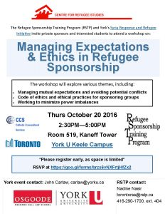 CRS Seminar: Refugee Sponsorship Training Session: Managing Expectations and Sponsorship Ethics @ 519 Kaneff Tower | Toronto | Ontario | Canada