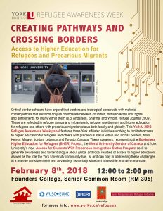 Creating Pathways and Crossing Borders: Access to Higher Education for Refugees and Precarious Migrants @ Founders College Senior Common Room (Room 305) | Toronto | Ontario | Canada
