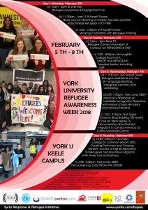Refugee Awareness Week 2018 at York University (Feb 5-8th) @ York University | Toronto | Ontario | Canada